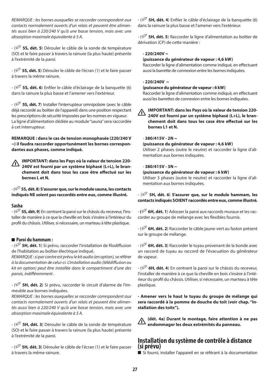 Pagina 27 - Manual de instalare pentru sauna + dus + hammam /sauna+ dus + sauna /hammam + dus +...