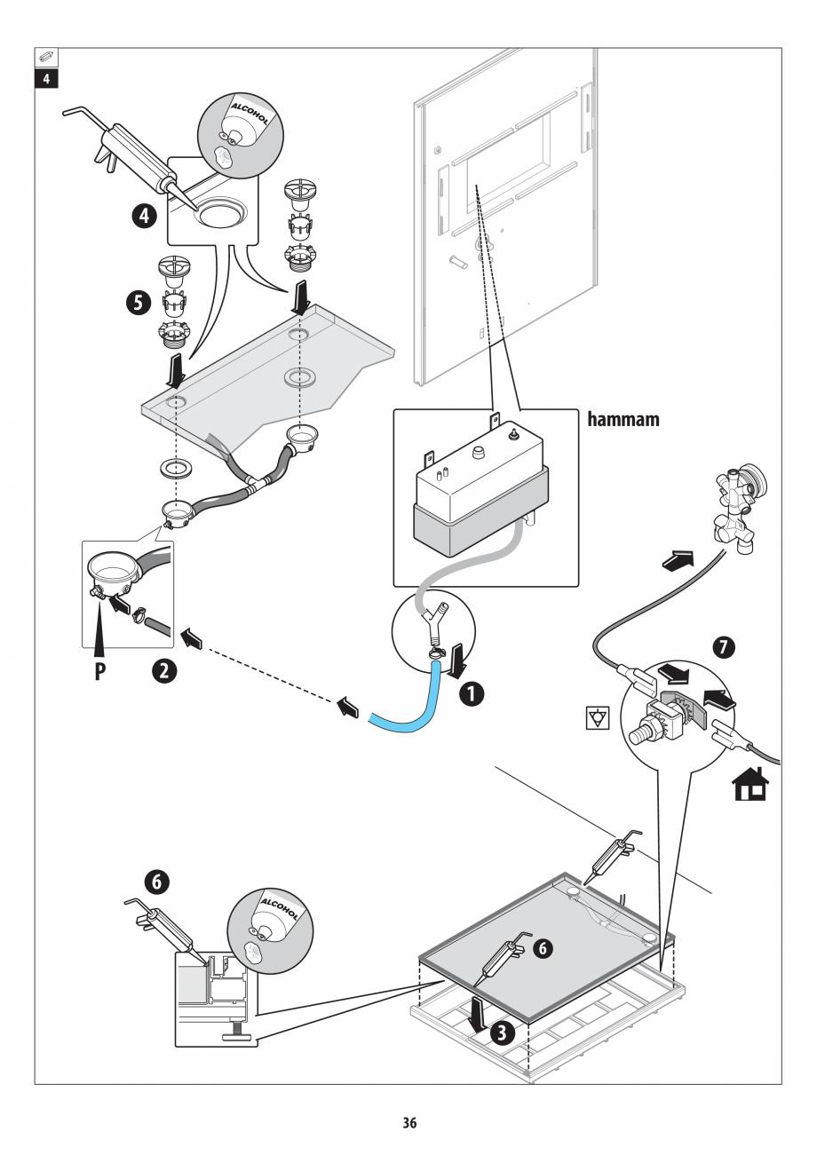 Pagina 36 - Manual de instalare pentru sauna + dus + hammam /sauna+ dus + sauna /hammam + dus +...