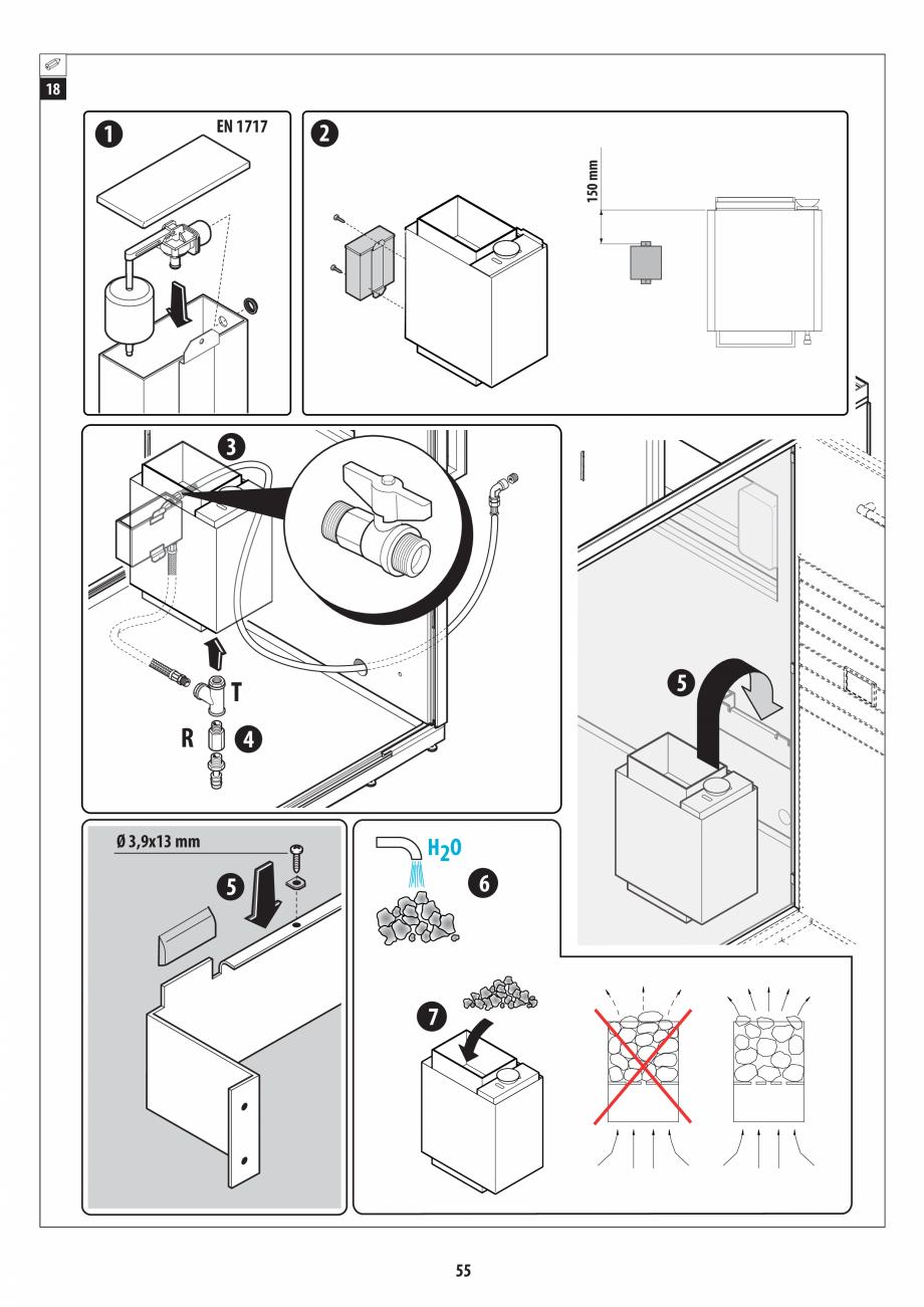 Pagina 55 - Manual de instalare pentru sauna + dus + hammam /sauna+ dus + sauna /hammam + dus +...