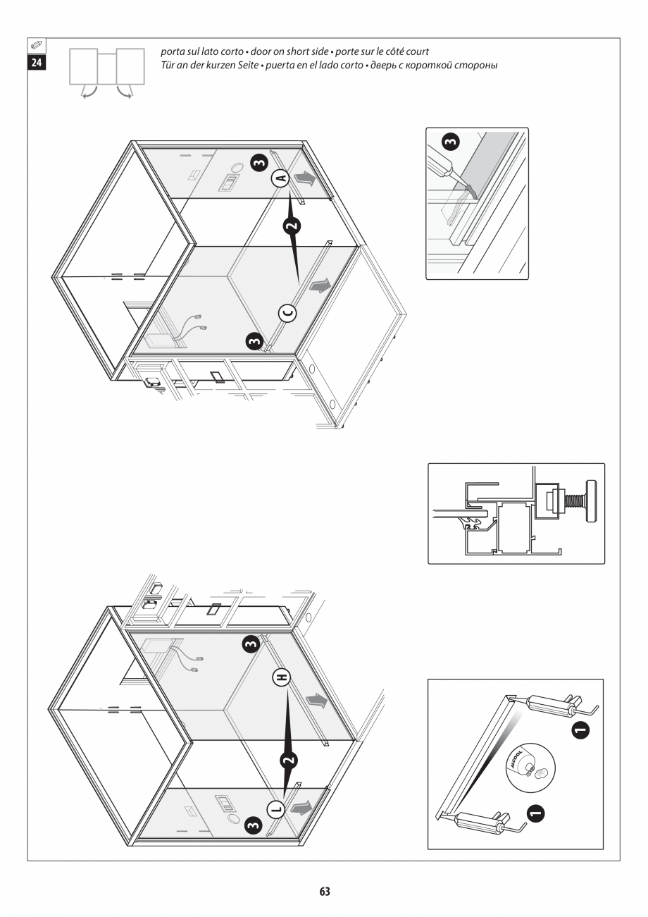 Pagina 63 - Manual de instalare pentru sauna + dus + hammam /sauna+ dus + sauna /hammam + dus +...