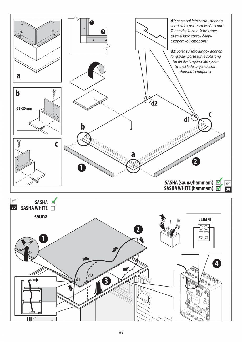 Pagina 69 - Manual de instalare pentru sauna + dus + hammam /sauna+ dus + sauna /hammam + dus +...