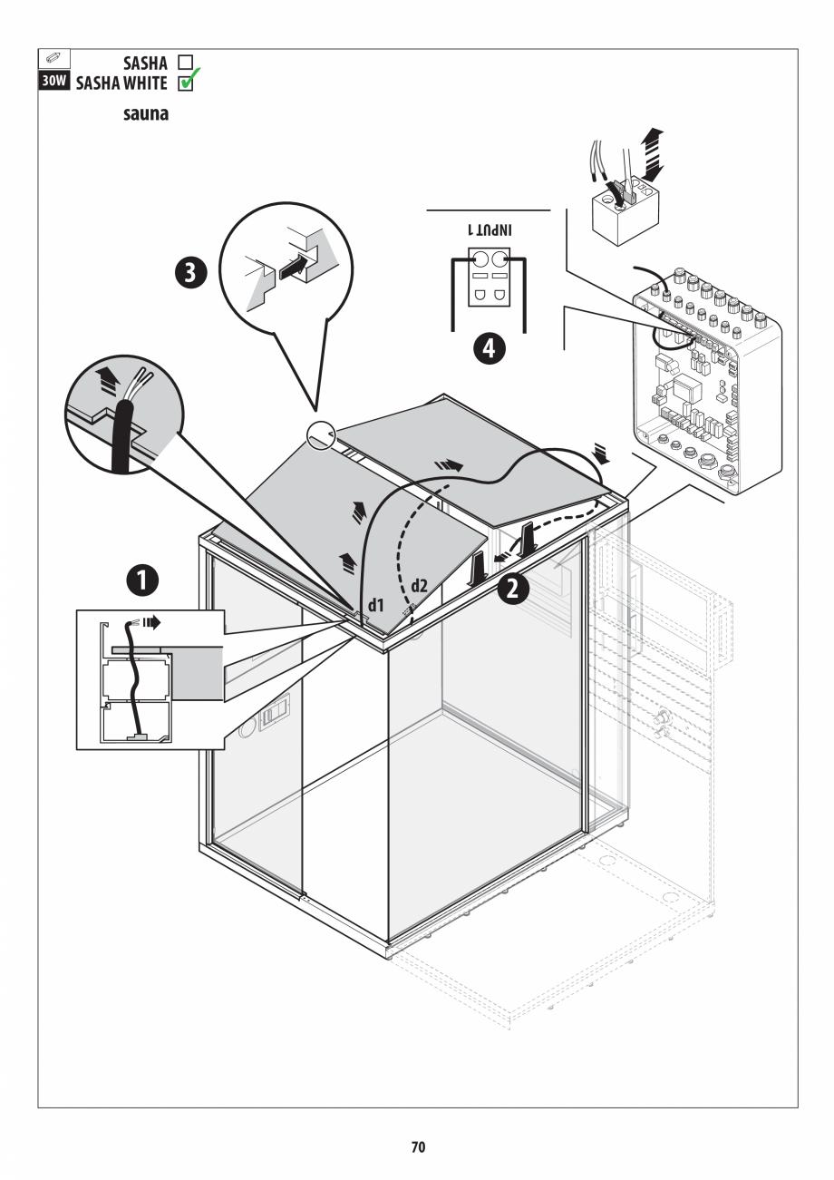 Pagina 70 - Manual de instalare pentru sauna + dus + hammam /sauna+ dus + sauna /hammam + dus +...