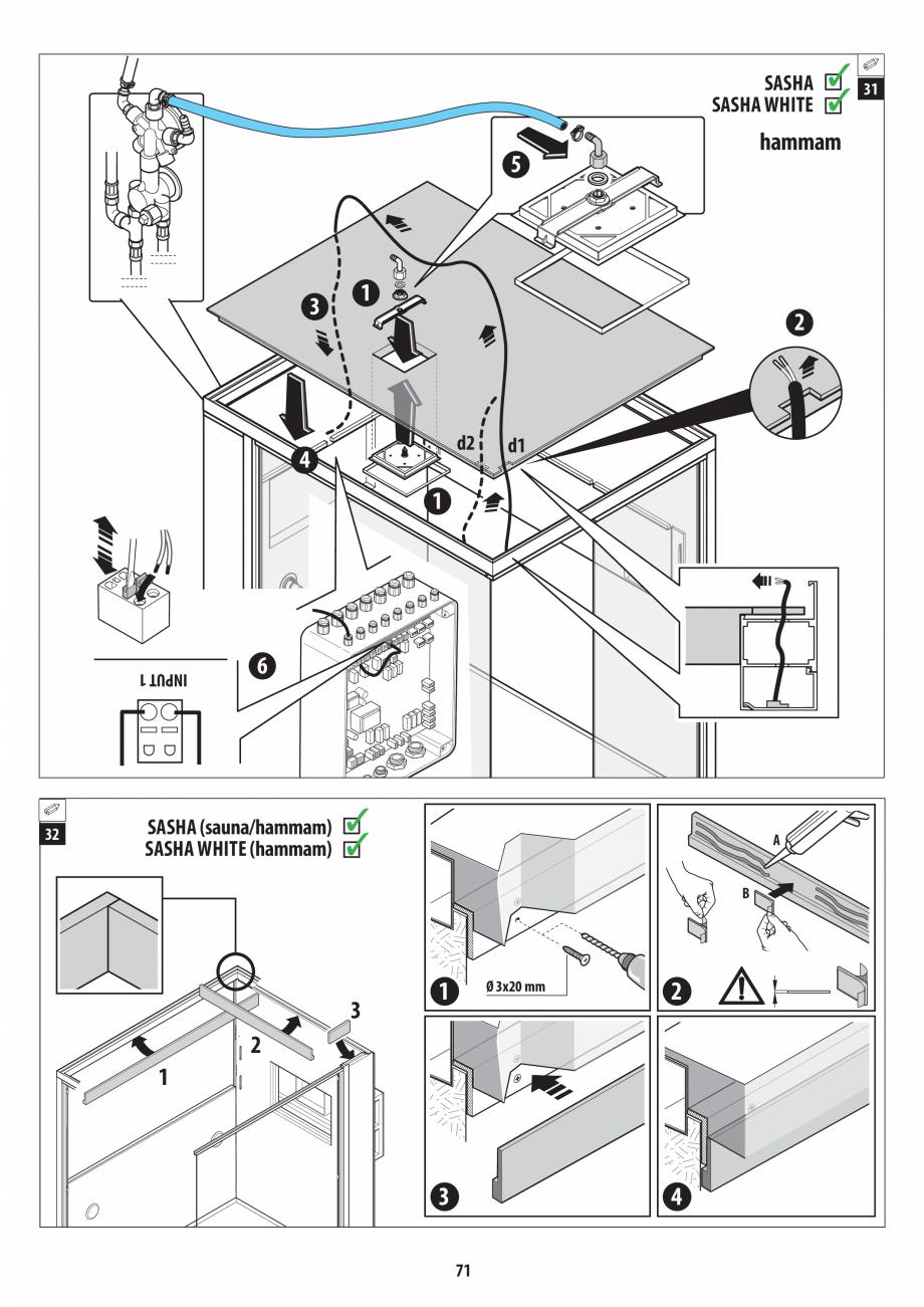 Pagina 71 - Manual de instalare pentru sauna + dus + hammam /sauna+ dus + sauna /hammam + dus +...