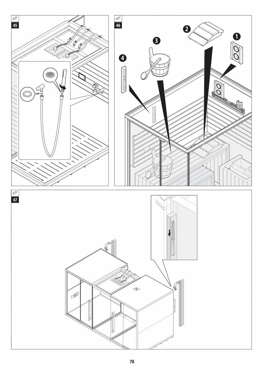 Pagina 78 - Manual de instalare pentru sauna + dus + hammam /sauna+ dus + sauna /hammam + dus +...