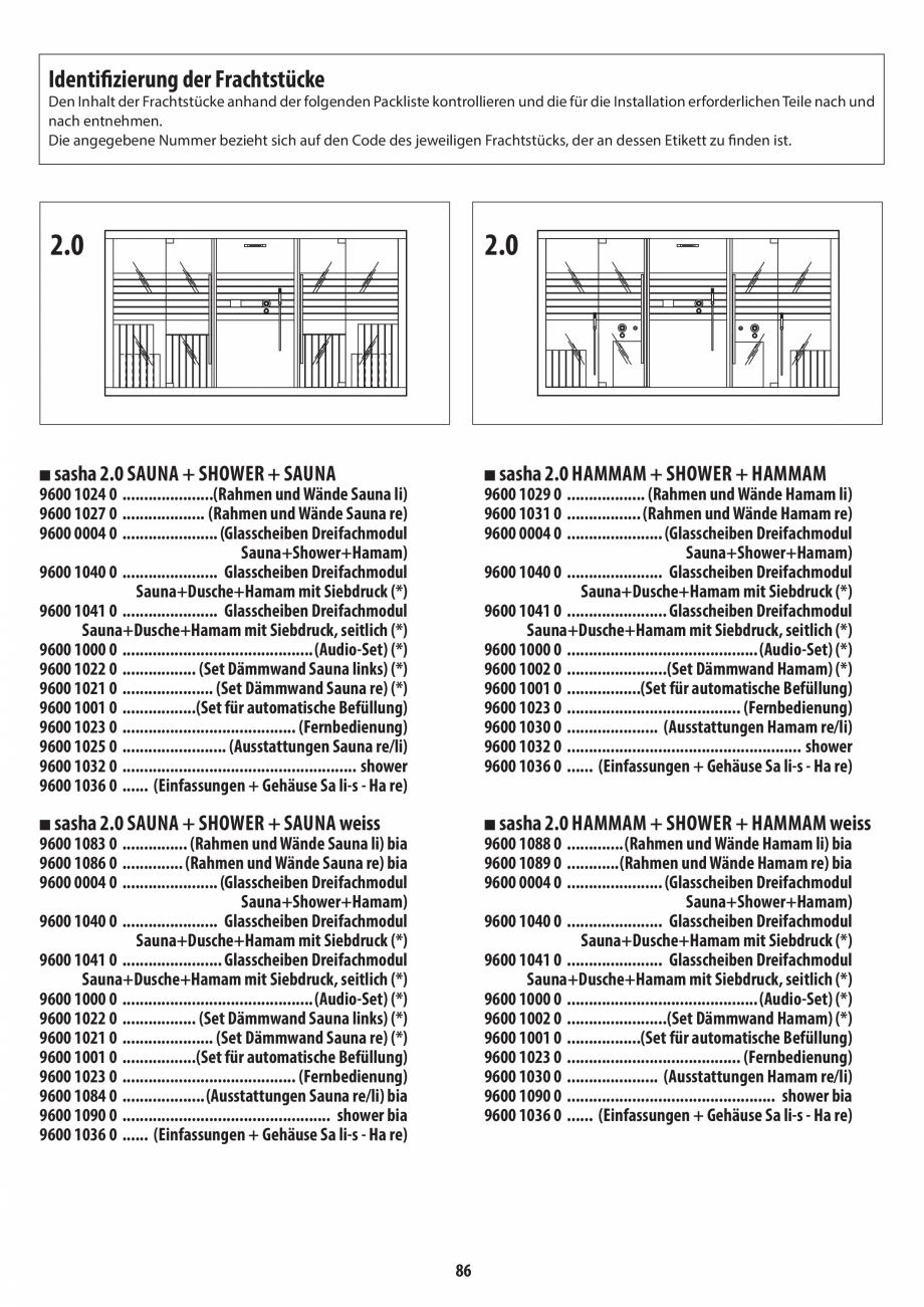 Pagina 86 - Manual de instalare pentru sauna + dus + hammam /sauna+ dus + sauna /hammam + dus +...