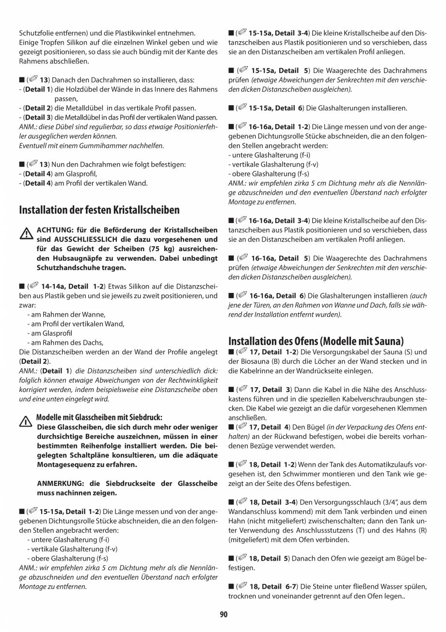Pagina 90 - Manual de instalare pentru sauna + dus + hammam /sauna+ dus + sauna /hammam + dus +...
