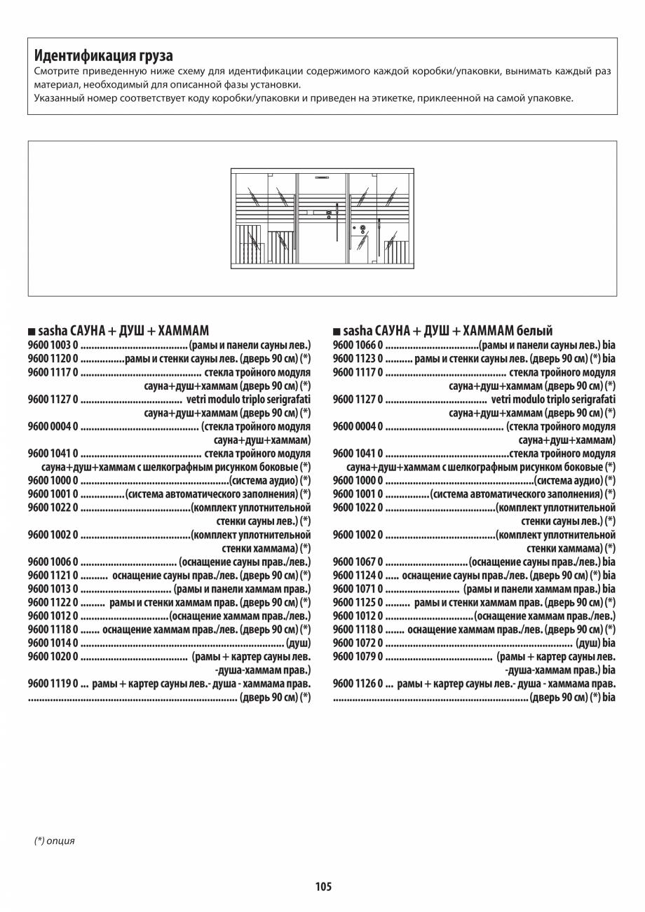 Pagina 105 - Manual de instalare pentru sauna + dus + hammam /sauna+ dus + sauna /hammam + dus +...