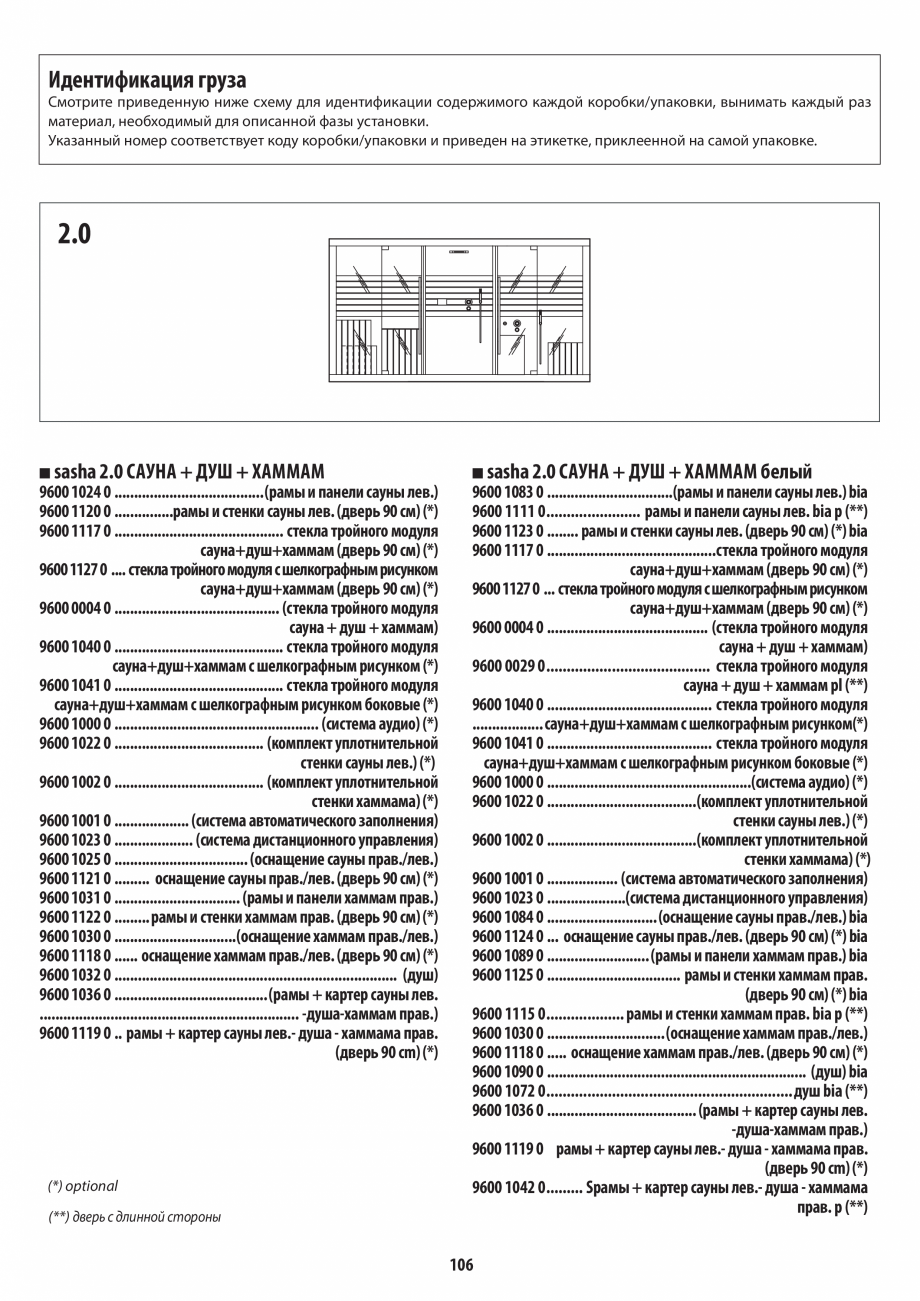 Pagina 106 - Manual de instalare pentru sauna + dus + hammam /sauna+ dus + sauna /hammam + dus +...