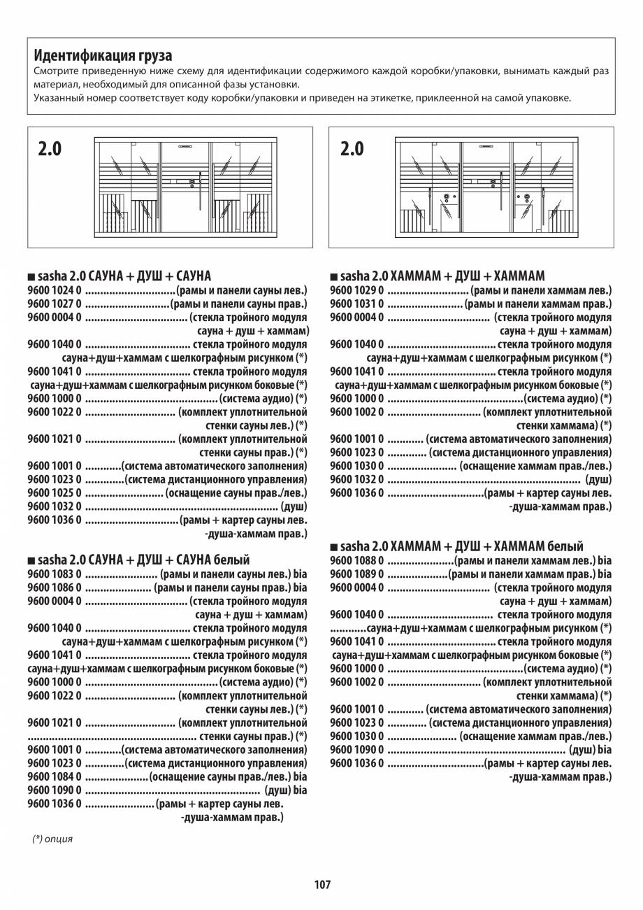 Pagina 107 - Manual de instalare pentru sauna + dus + hammam /sauna+ dus + sauna /hammam + dus +...