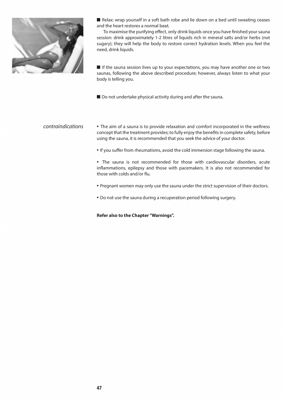 Pagina 47 - Manual de utilizare si intretinere pentru sauna JACUZZI SASHA, SASHA 2.0 Instructiuni...
