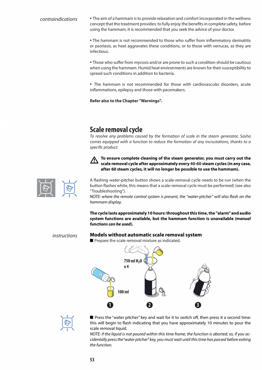 Pagina 53 - Manual de utilizare si intretinere pentru sauna JACUZZI SASHA, SASHA 2.0 Instructiuni...