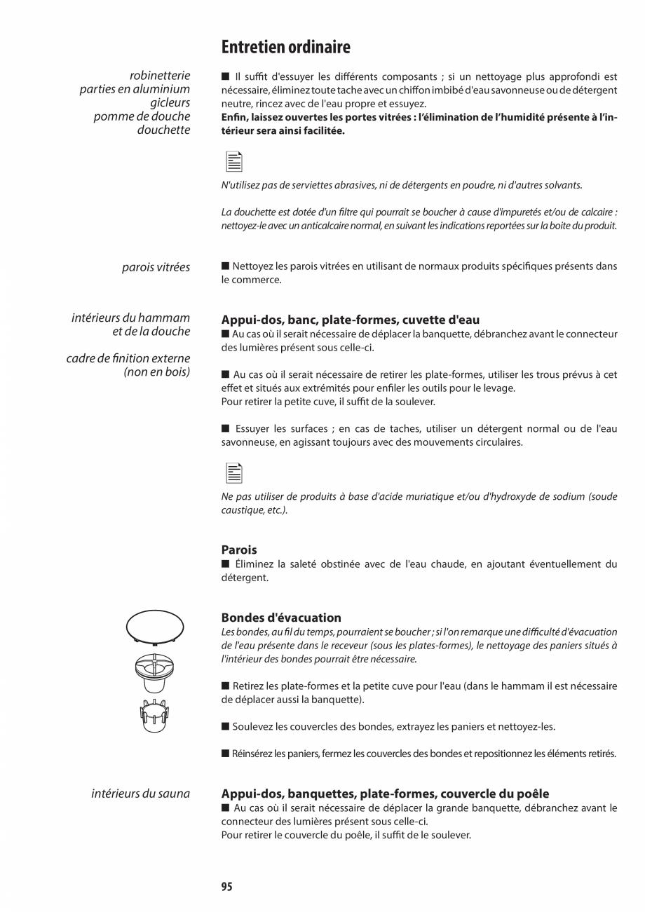 Pagina 95 - Manual de utilizare si intretinere pentru sauna JACUZZI SASHA, SASHA 2.0 Instructiuni...