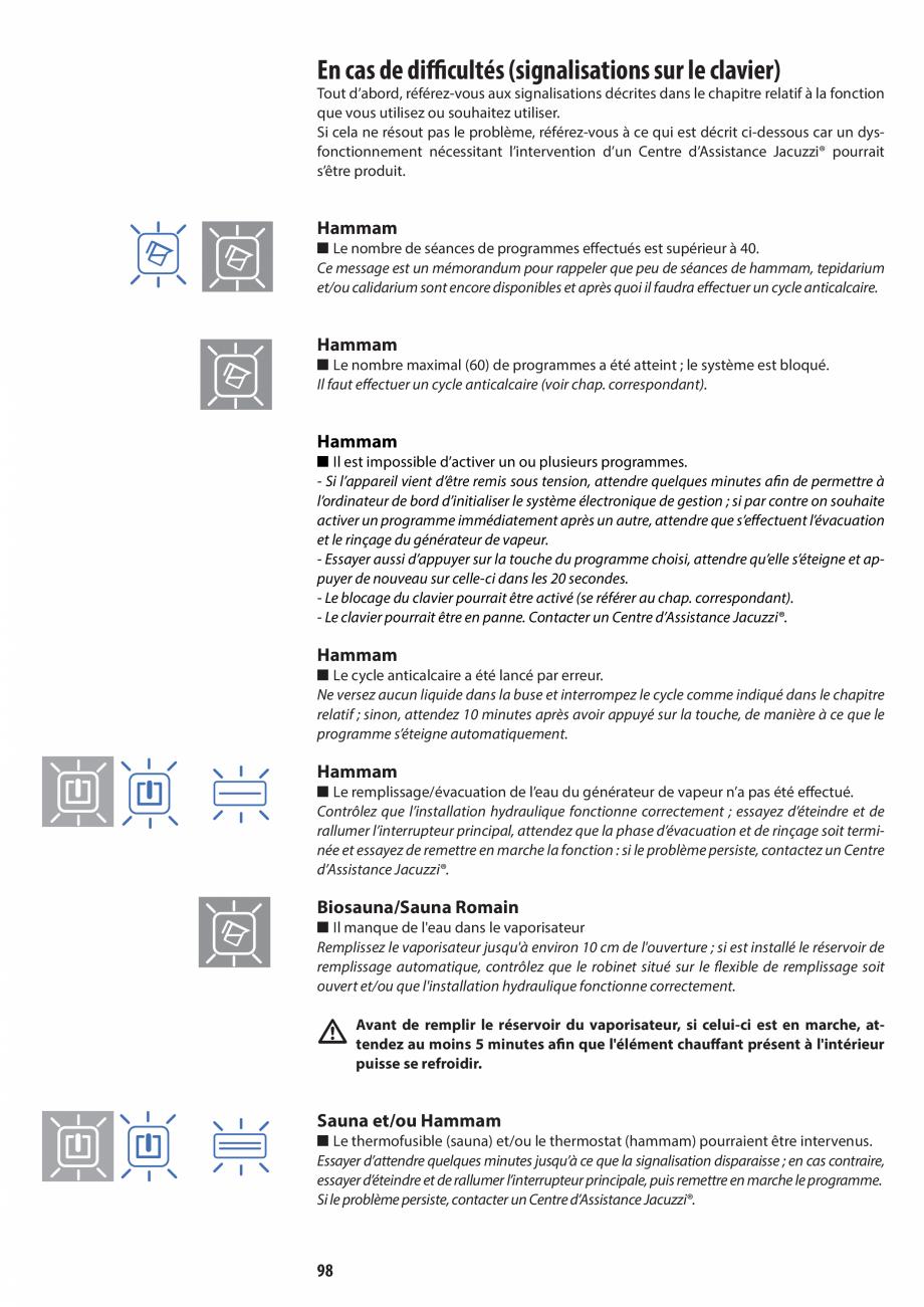 Pagina 98 - Manual de utilizare si intretinere pentru sauna JACUZZI SASHA, SASHA 2.0 Instructiuni...