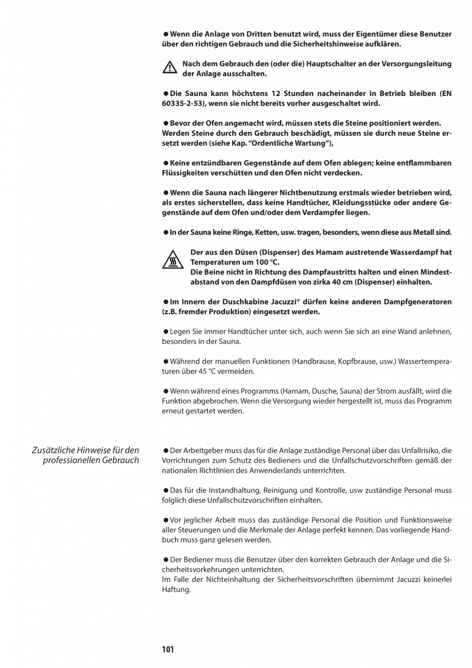 Pagina 101 - Manual de utilizare si intretinere pentru sauna JACUZZI SASHA, SASHA 2.0 Instructiuni...