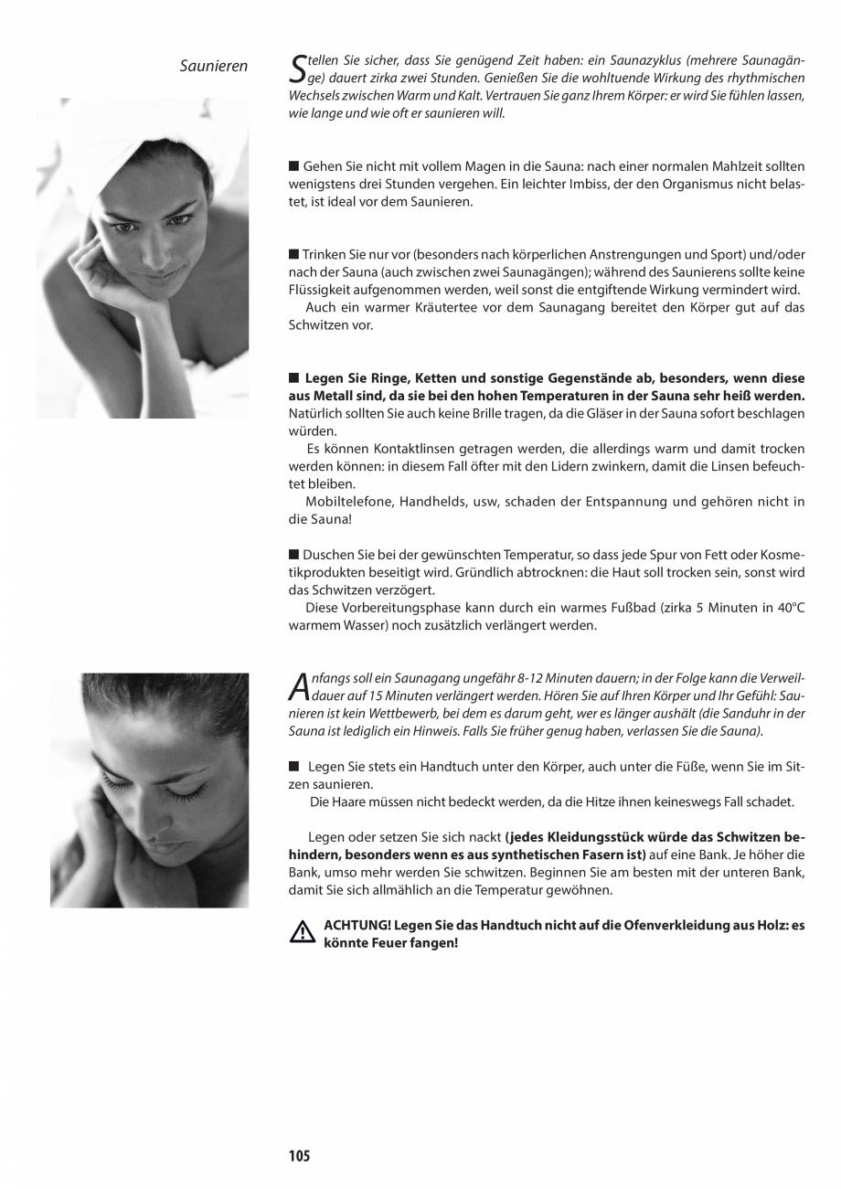 Pagina 105 - Manual de utilizare si intretinere pentru sauna JACUZZI SASHA, SASHA 2.0 Instructiuni...
