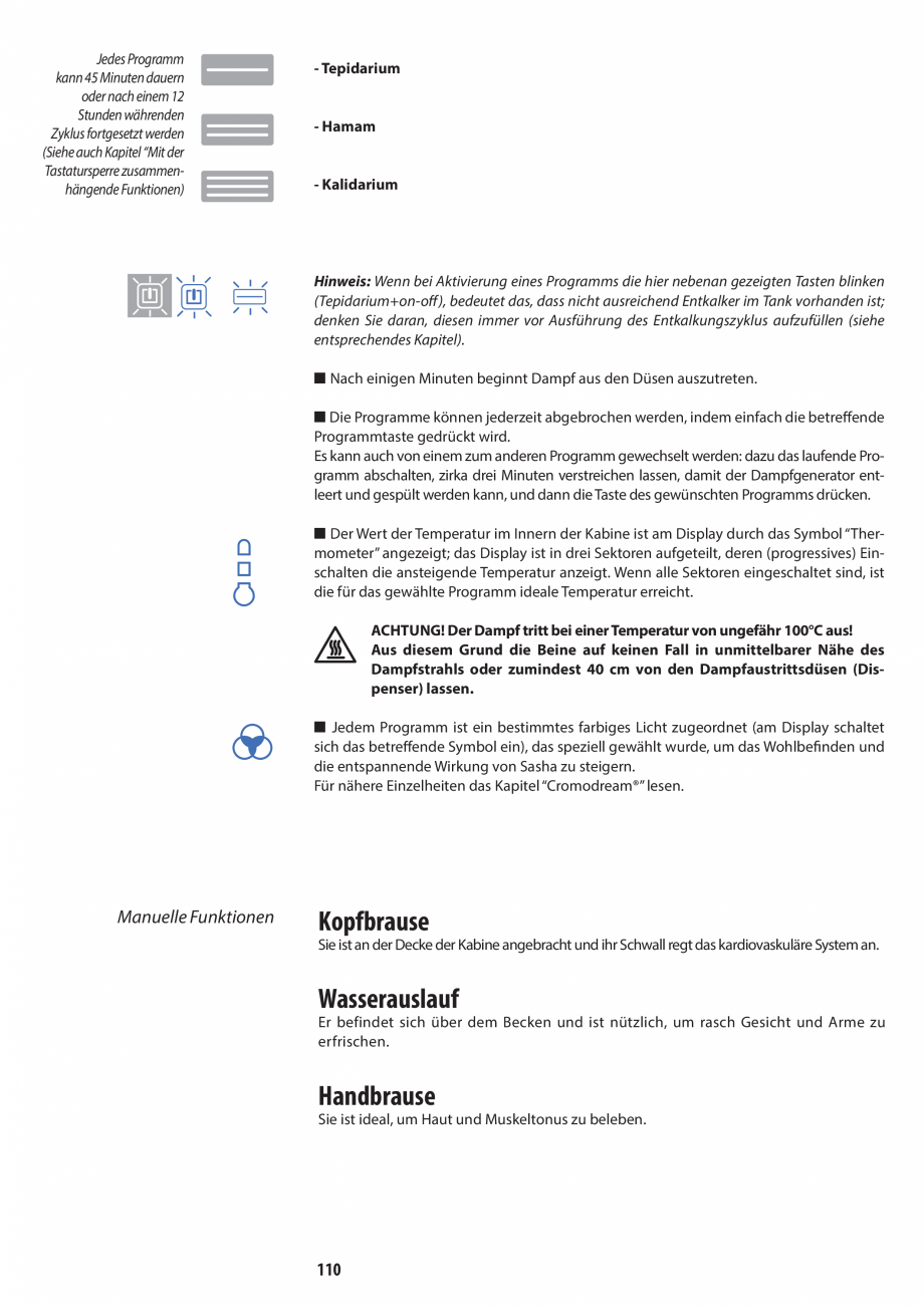 Pagina 110 - Manual de utilizare si intretinere pentru sauna JACUZZI SASHA, SASHA 2.0 Instructiuni...