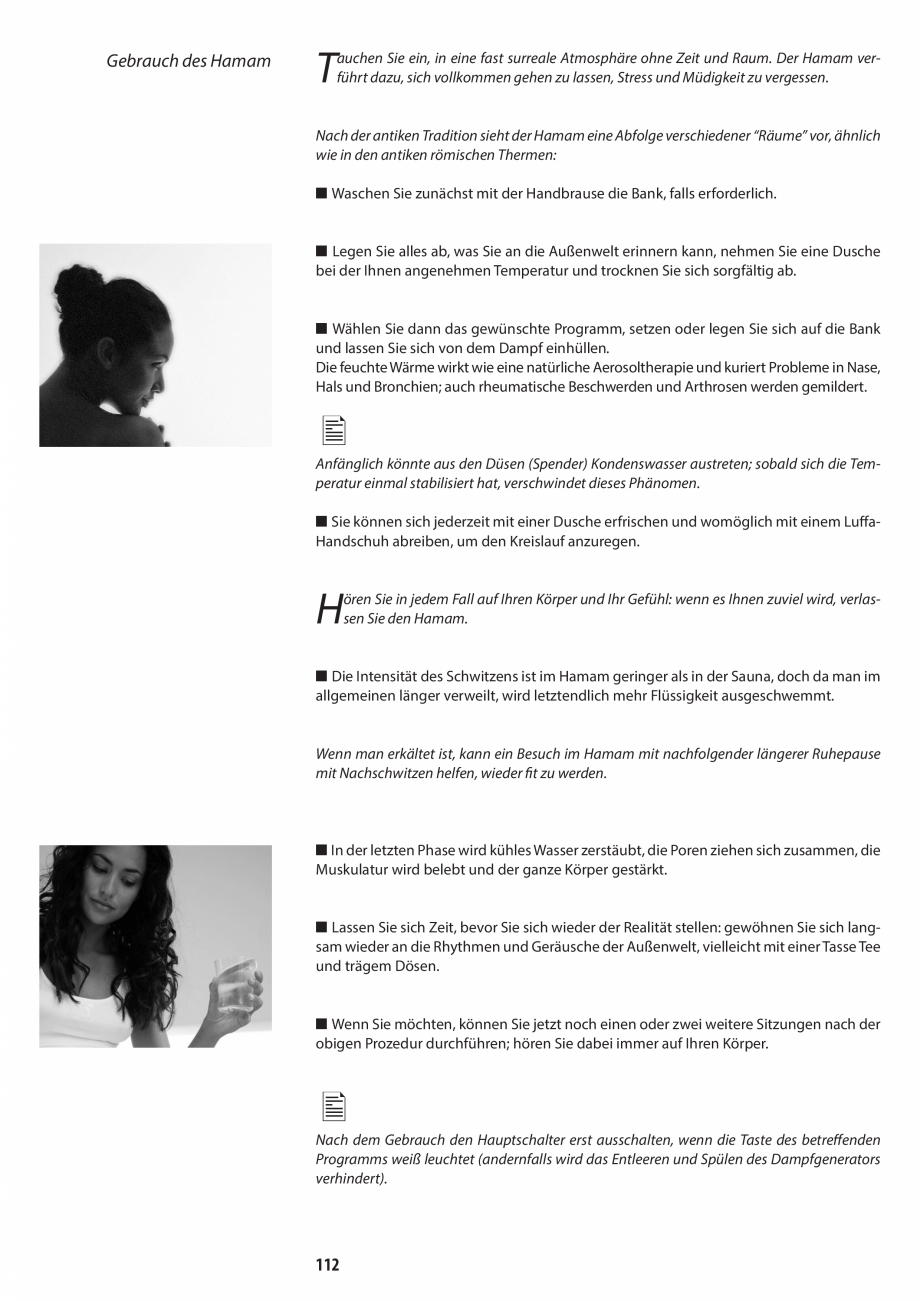 Pagina 112 - Manual de utilizare si intretinere pentru sauna JACUZZI SASHA, SASHA 2.0 Instructiuni...