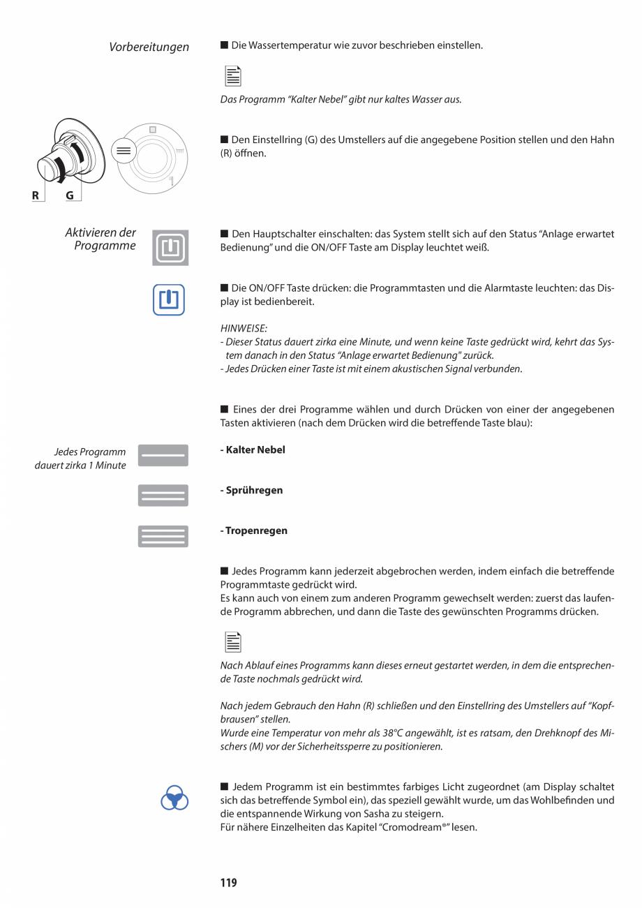 Pagina 119 - Manual de utilizare si intretinere pentru sauna JACUZZI SASHA, SASHA 2.0 Instructiuni...
