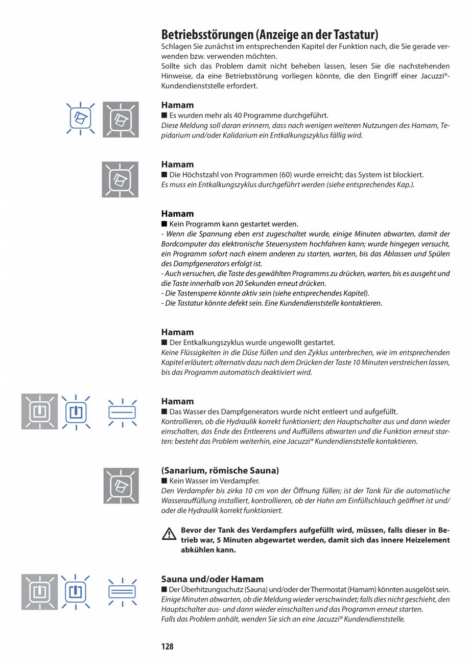 Pagina 128 - Manual de utilizare si intretinere pentru sauna JACUZZI SASHA, SASHA 2.0 Instructiuni...
