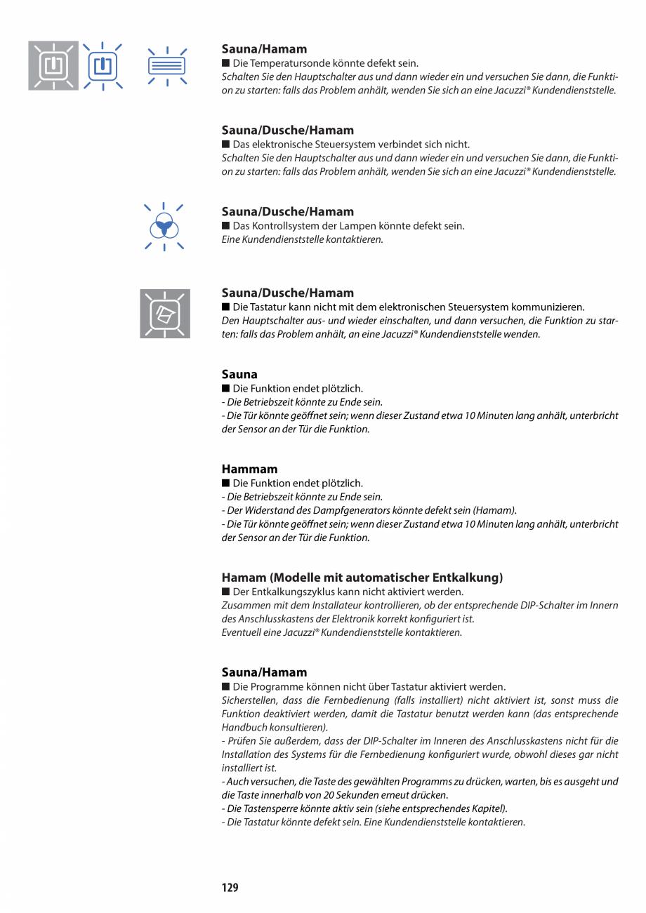 Pagina 129 - Manual de utilizare si intretinere pentru sauna JACUZZI SASHA, SASHA 2.0 Instructiuni...