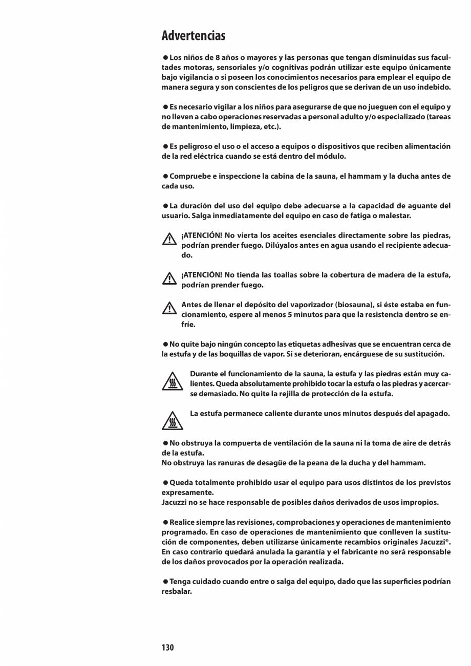 Pagina 130 - Manual de utilizare si intretinere pentru sauna JACUZZI SASHA, SASHA 2.0 Instructiuni...
