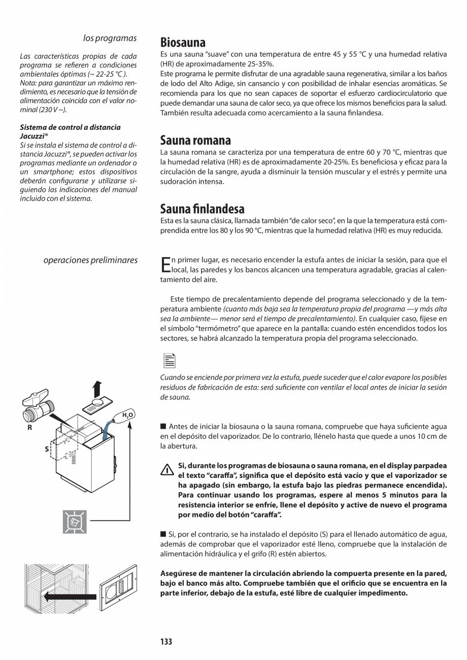 Pagina 133 - Manual de utilizare si intretinere pentru sauna JACUZZI SASHA, SASHA 2.0 Instructiuni...