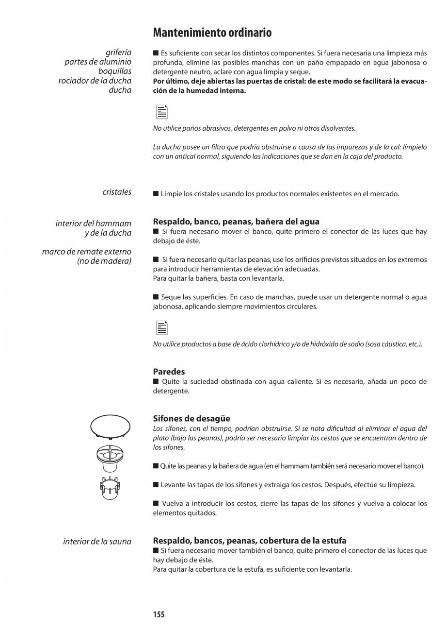 Pagina 155 - Manual de utilizare si intretinere pentru sauna JACUZZI SASHA, SASHA 2.0 Instructiuni...