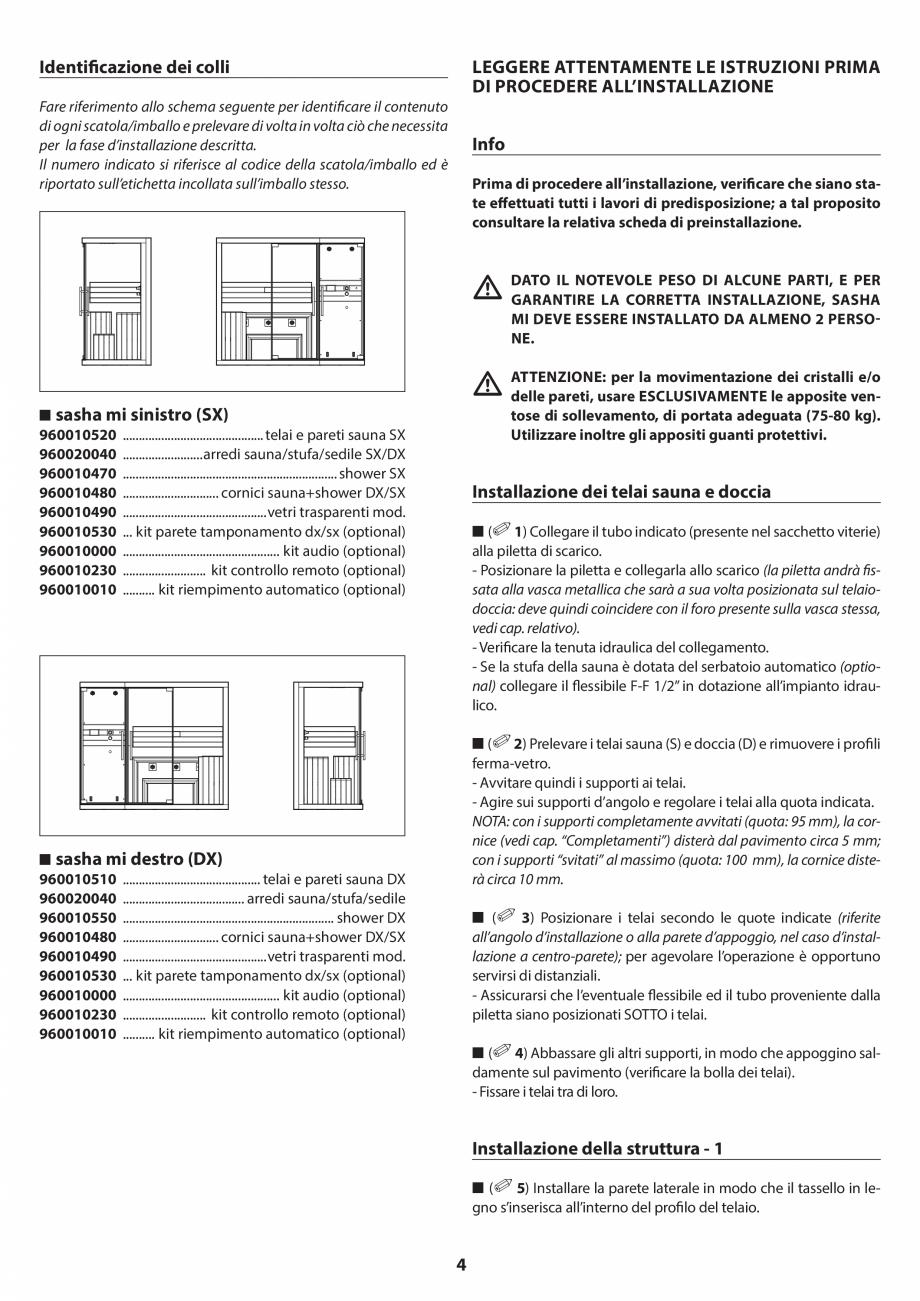 Pagina 4 - Manual de instalare pentru sauna JACUZZI SASHA MI Instructiuni montaj, utilizare Engleza,...