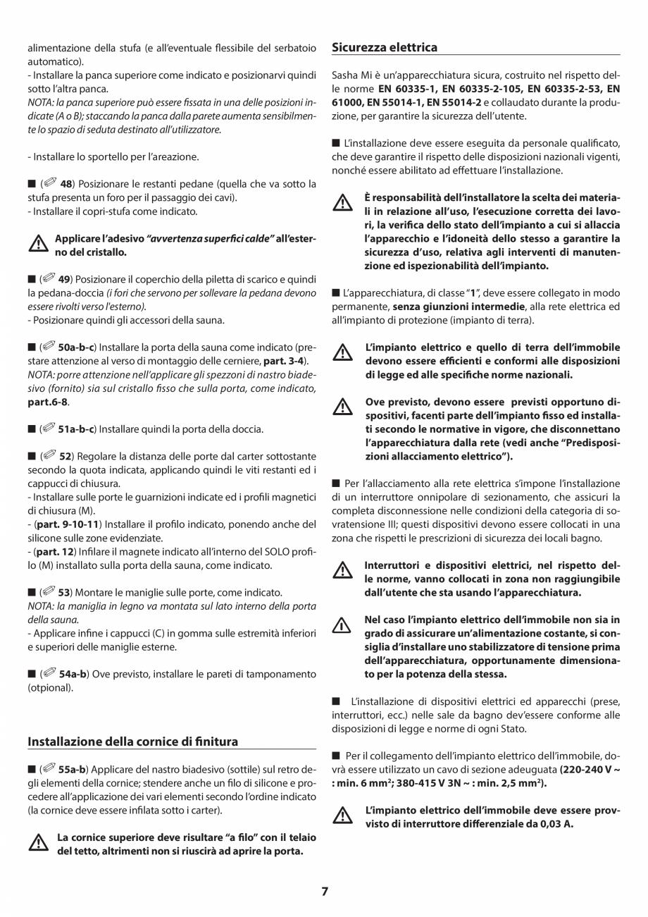 Pagina 7 - Manual de instalare pentru sauna JACUZZI SASHA MI Instructiuni montaj, utilizare Engleza,...