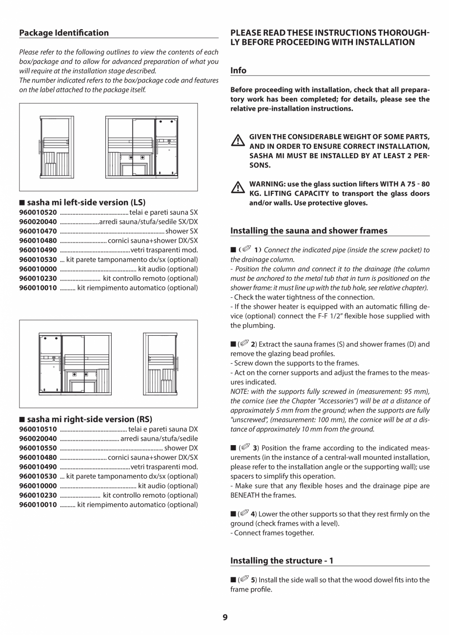 Pagina 9 - Manual de instalare pentru sauna JACUZZI SASHA MI Instructiuni montaj, utilizare Engleza,...