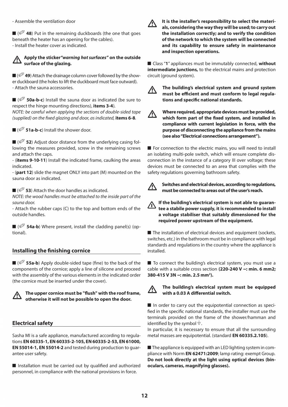 Pagina 12 - Manual de instalare pentru sauna JACUZZI SASHA MI Instructiuni montaj, utilizare Engleza...