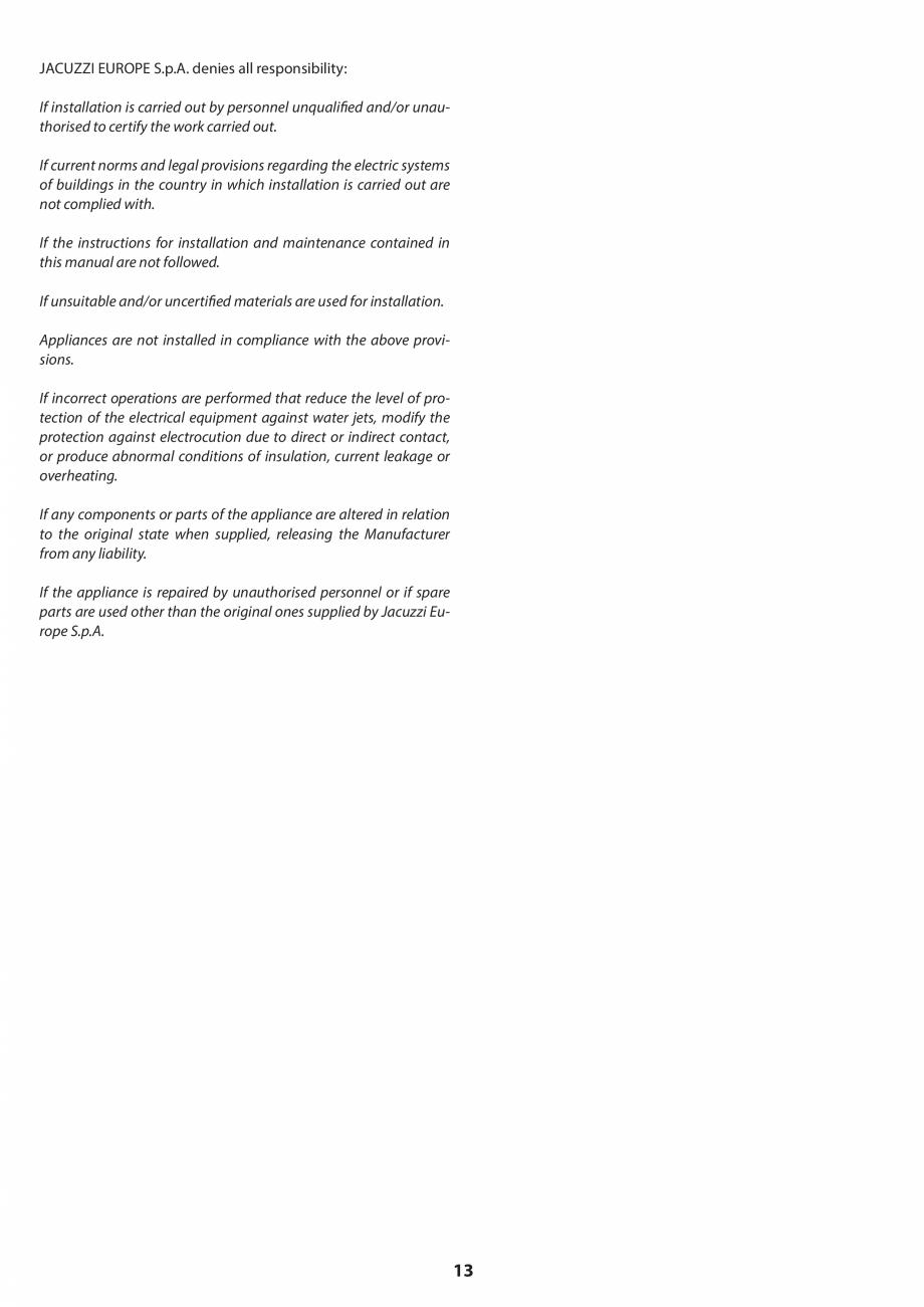 Pagina 13 - Manual de instalare pentru sauna JACUZZI SASHA MI Instructiuni montaj, utilizare Engleza...