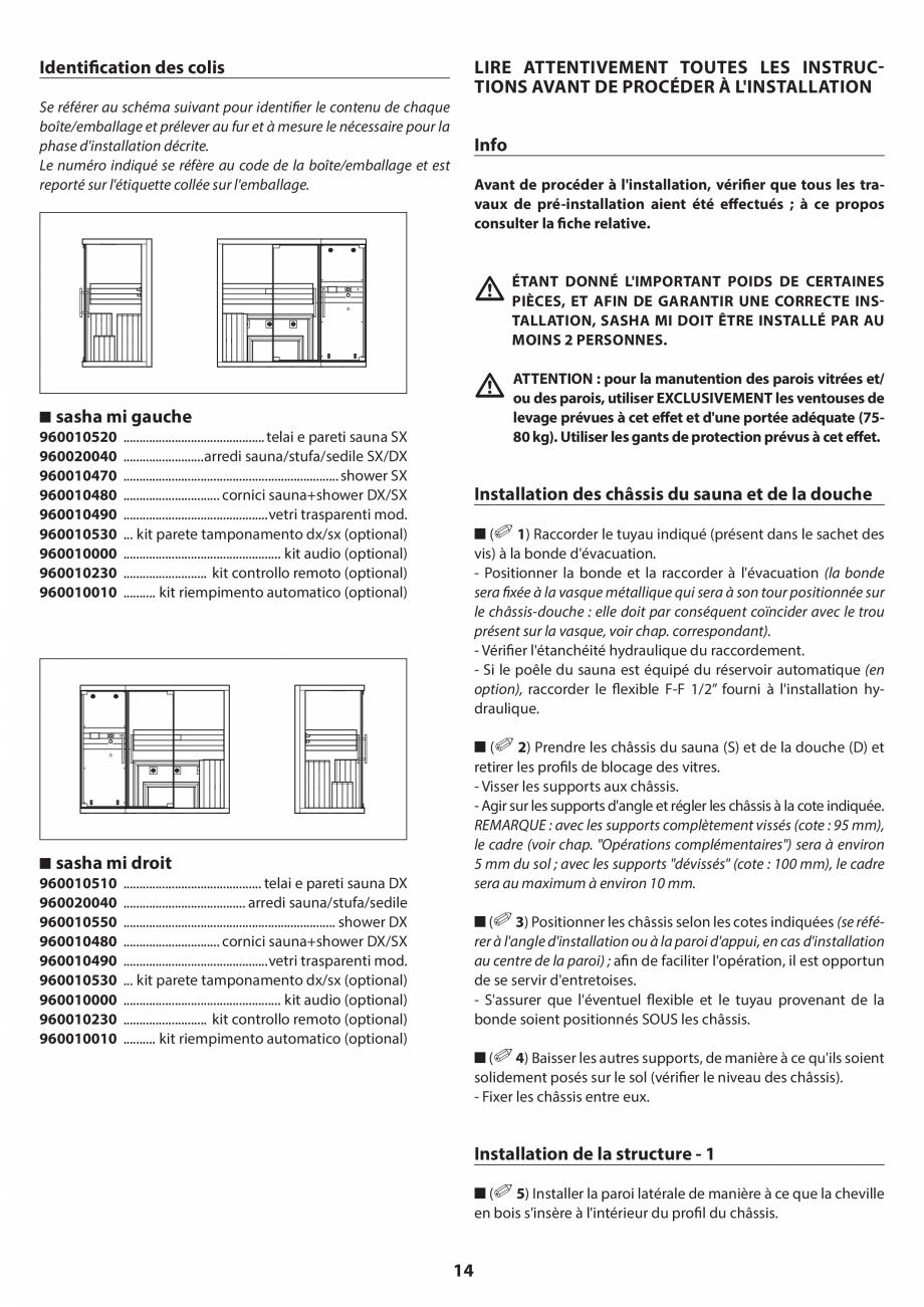 Pagina 14 - Manual de instalare pentru sauna JACUZZI SASHA MI Instructiuni montaj, utilizare Engleza...