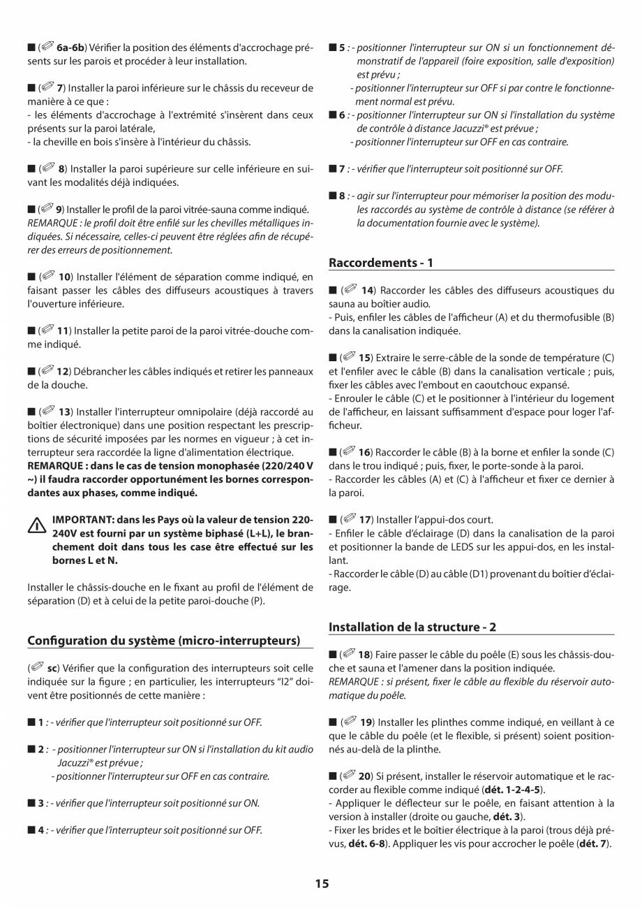 Pagina 15 - Manual de instalare pentru sauna JACUZZI SASHA MI Instructiuni montaj, utilizare Engleza...