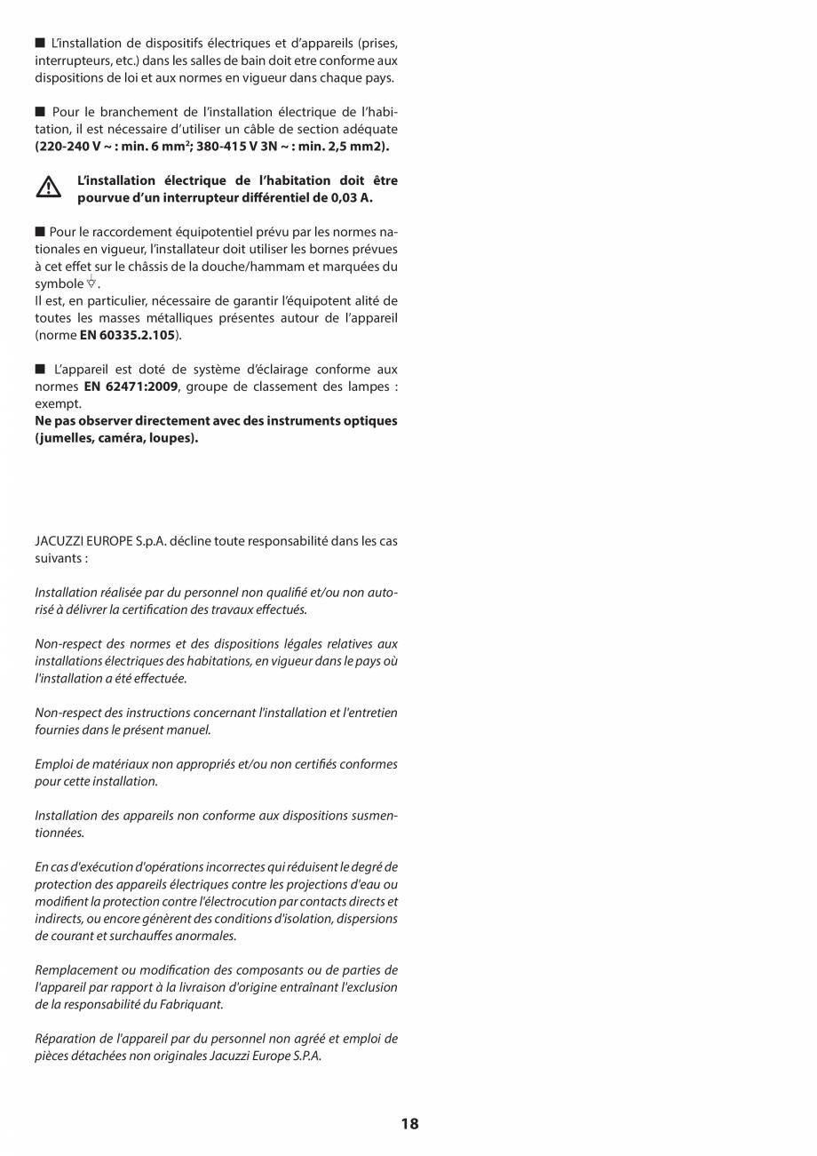 Pagina 18 - Manual de instalare pentru sauna JACUZZI SASHA MI Instructiuni montaj, utilizare Engleza...