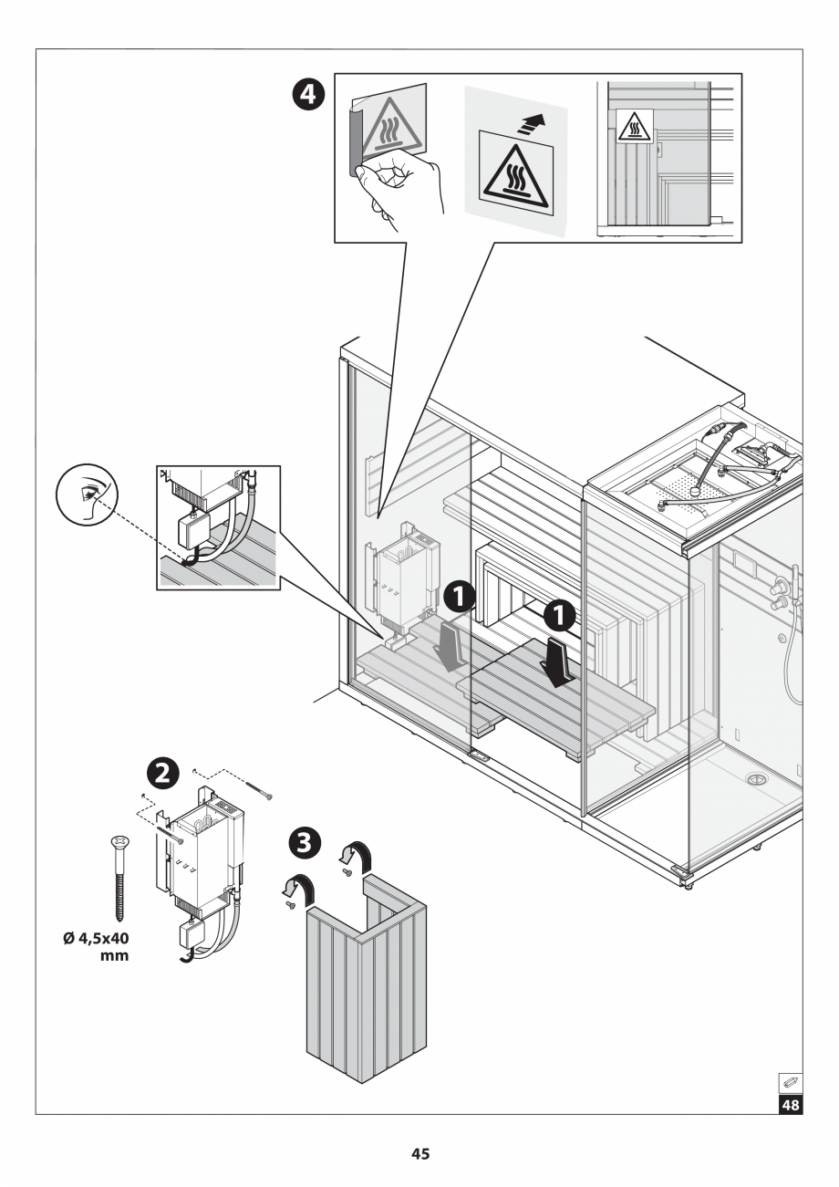 Pagina 45 - Manual de instalare pentru sauna JACUZZI SASHA MI Instructiuni montaj, utilizare Engleza...