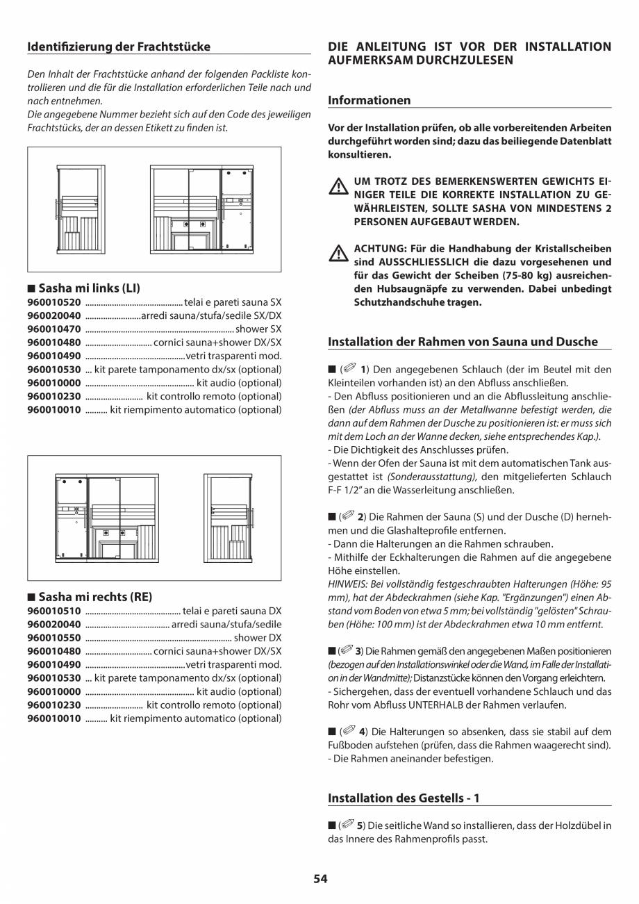Pagina 54 - Manual de instalare pentru sauna JACUZZI SASHA MI Instructiuni montaj, utilizare Engleza...