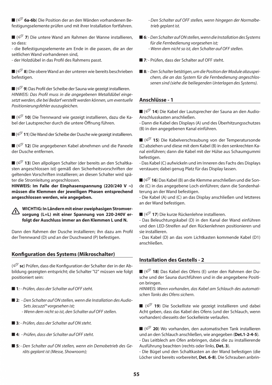 Pagina 55 - Manual de instalare pentru sauna JACUZZI SASHA MI Instructiuni montaj, utilizare Engleza...