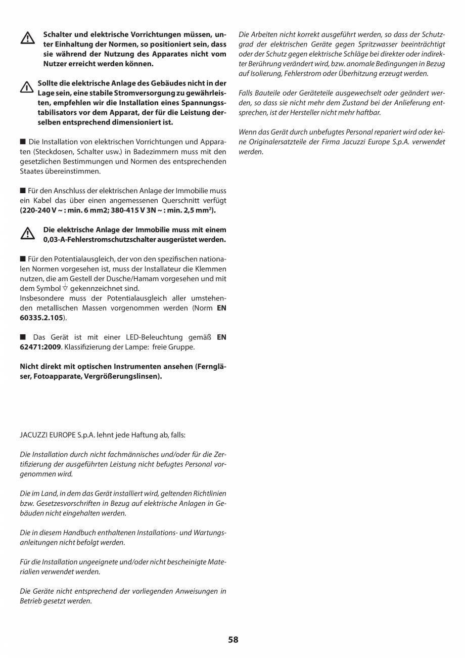 Pagina 58 - Manual de instalare pentru sauna JACUZZI SASHA MI Instructiuni montaj, utilizare Engleza...