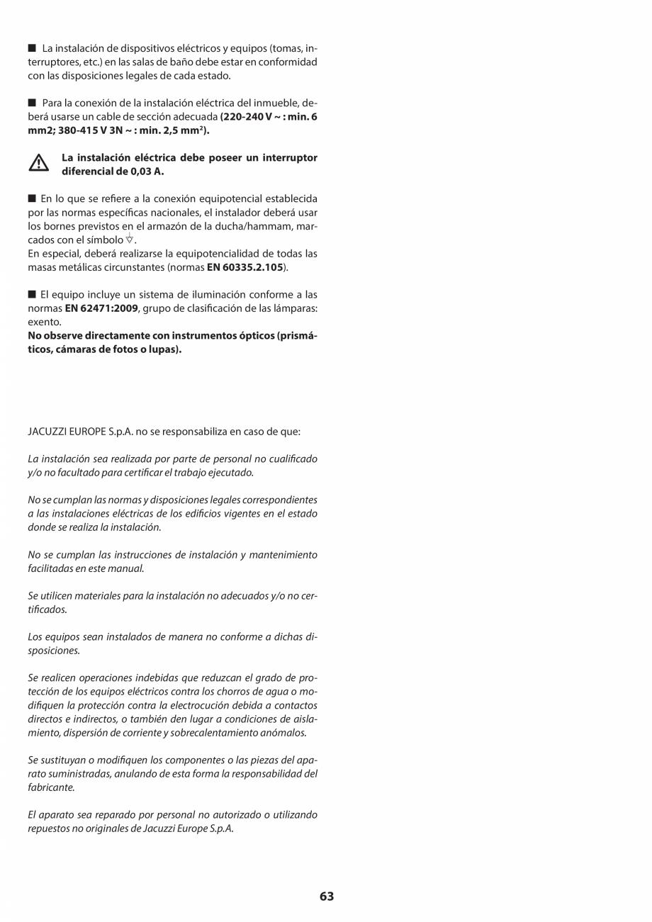 Pagina 63 - Manual de instalare pentru sauna JACUZZI SASHA MI Instructiuni montaj, utilizare Engleza...