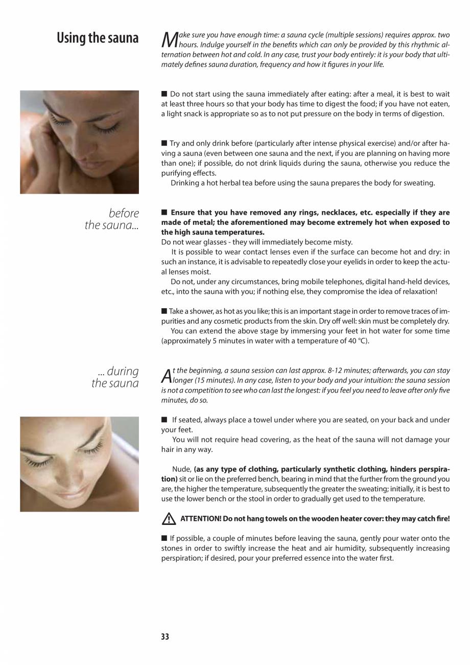 Pagina 33 - Manualul utilizatorului pentru sauna JACUZZI MOOD Instructiuni montaj, utilizare Engleza...