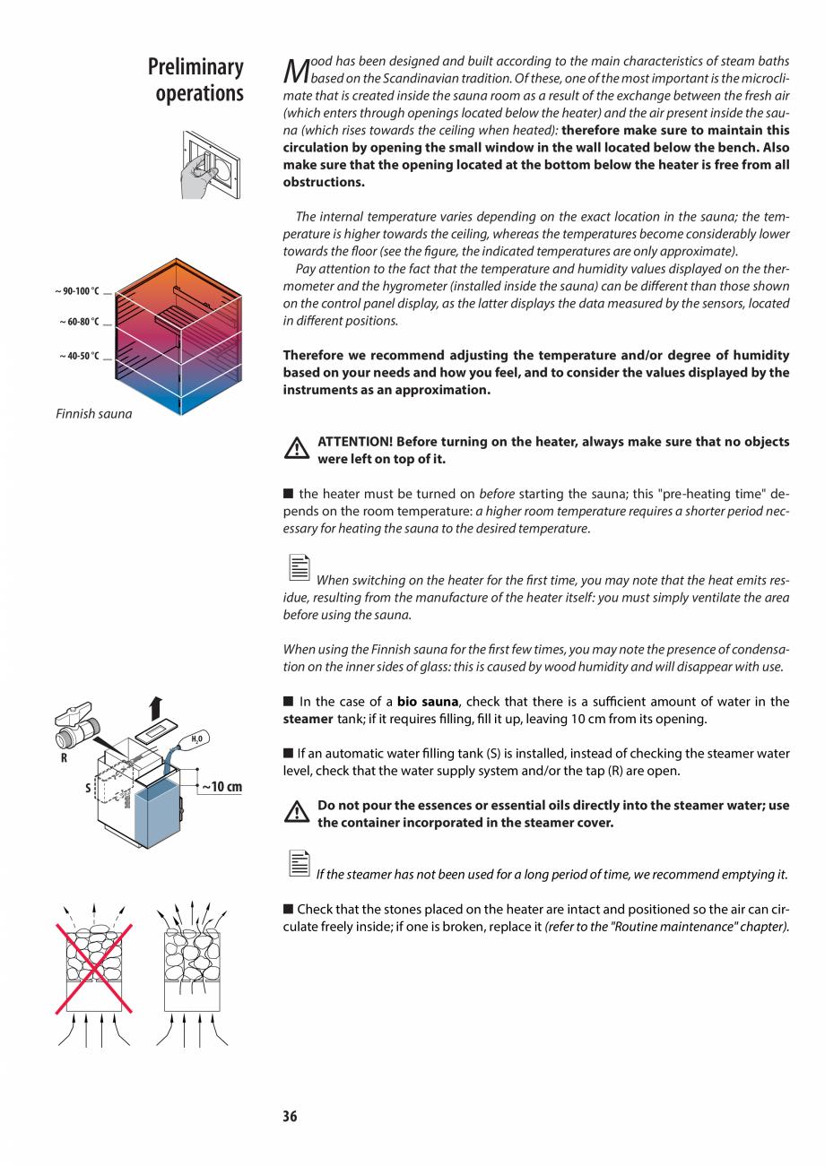 Pagina 36 - Manualul utilizatorului pentru sauna JACUZZI MOOD Instructiuni montaj, utilizare Engleza...