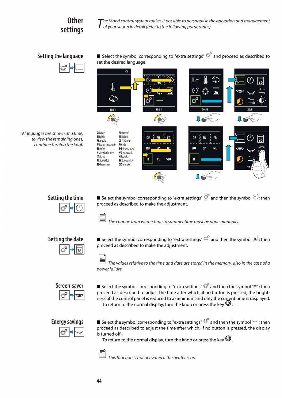 Pagina 44 - Manualul utilizatorului pentru sauna JACUZZI MOOD Instructiuni montaj, utilizare Engleza...