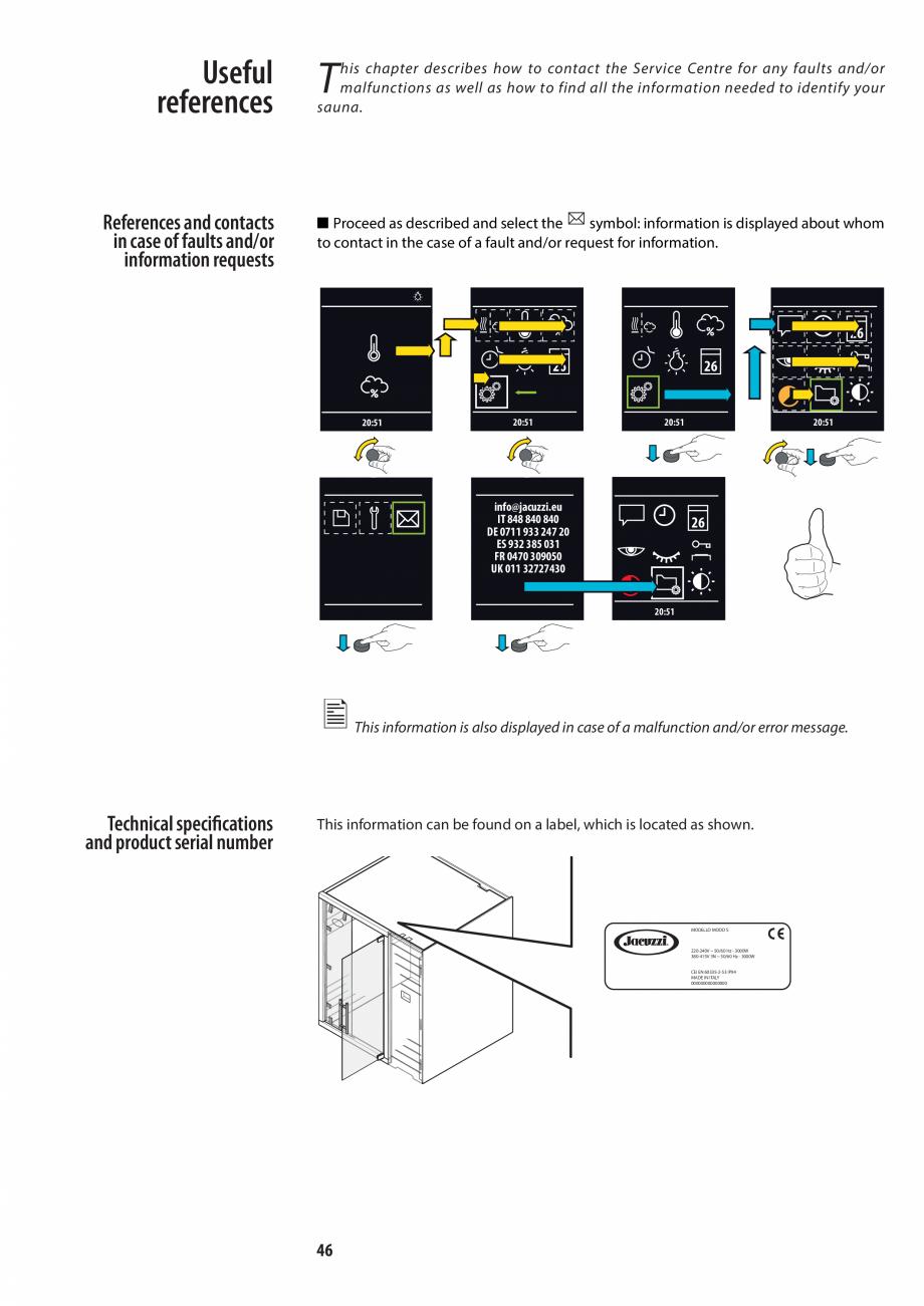 Pagina 46 - Manualul utilizatorului pentru sauna JACUZZI MOOD Instructiuni montaj, utilizare Engleza...