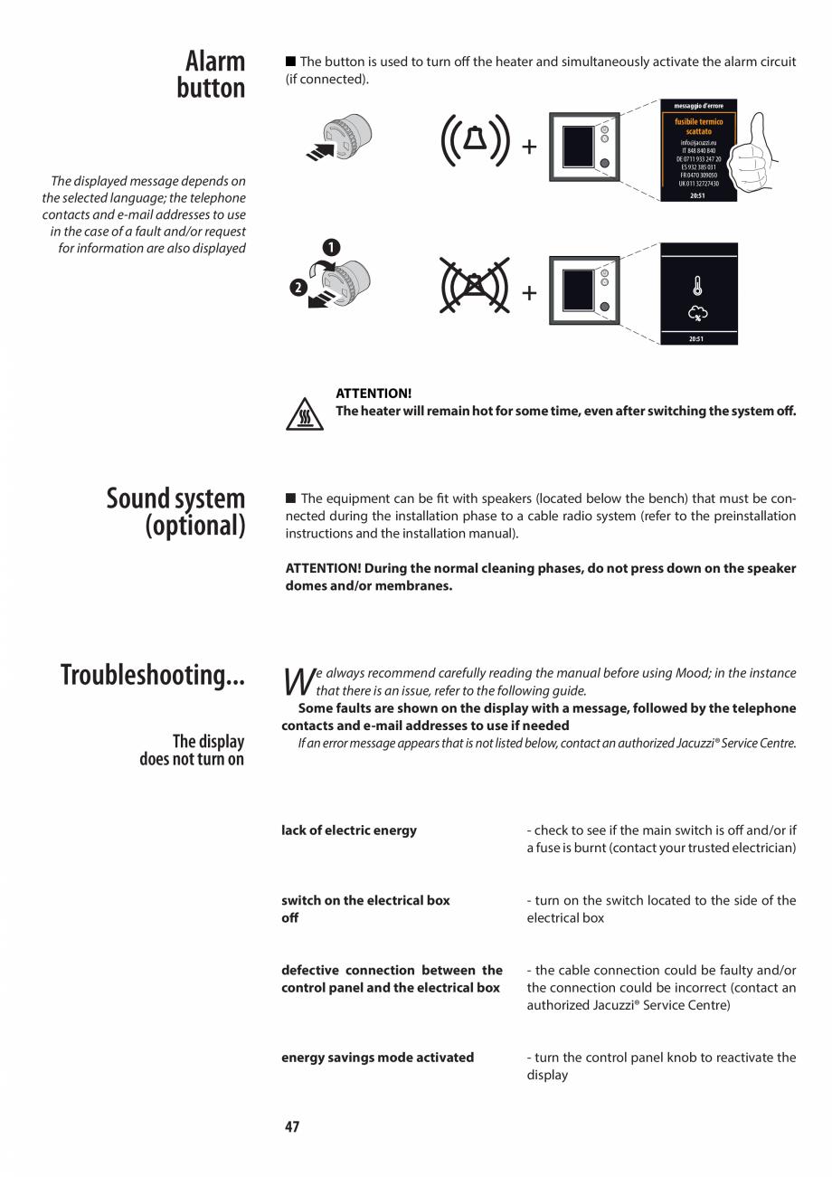Pagina 47 - Manualul utilizatorului pentru sauna JACUZZI MOOD Instructiuni montaj, utilizare Engleza...