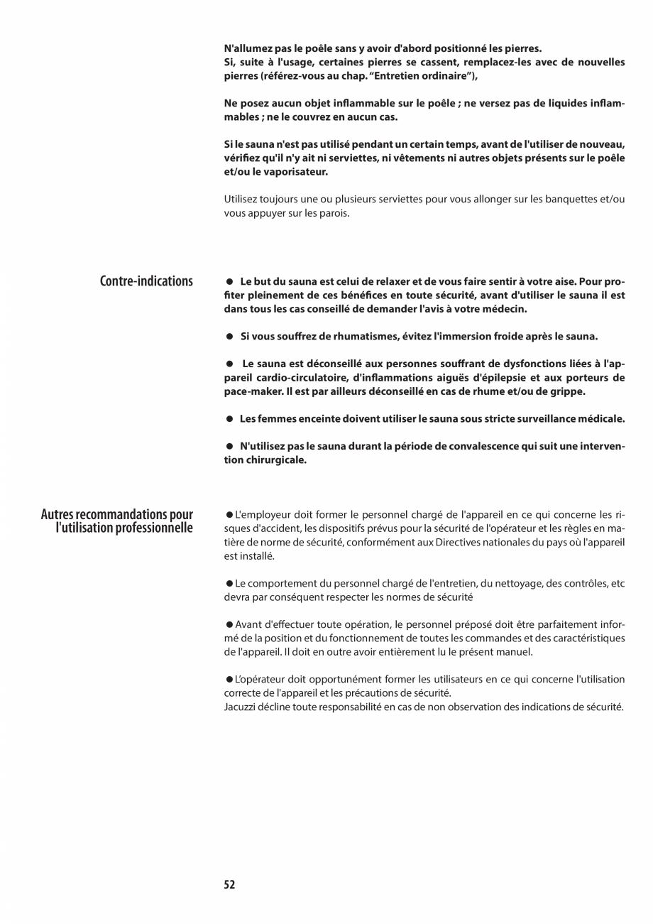 Pagina 52 - Manualul utilizatorului pentru sauna JACUZZI MOOD Instructiuni montaj, utilizare Engleza...
