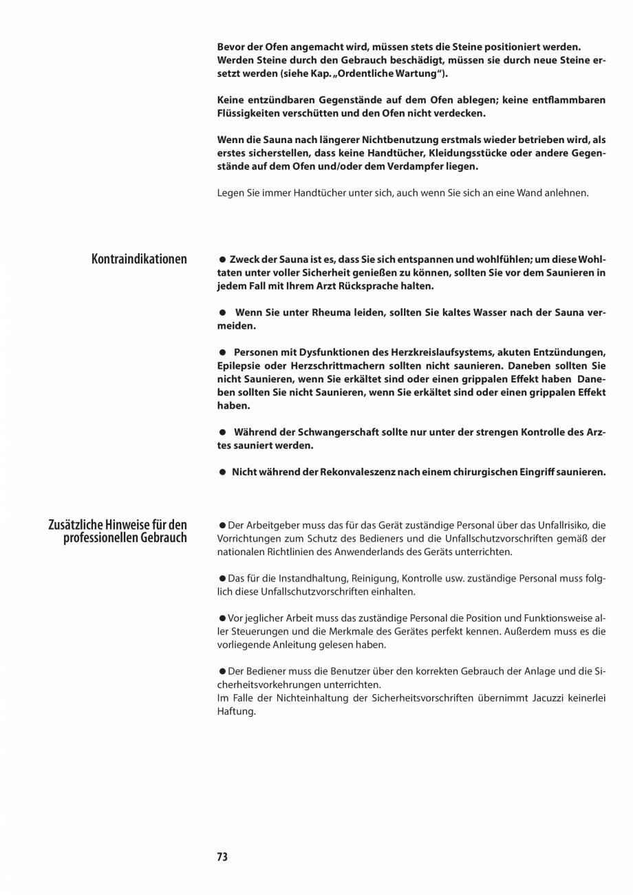 Pagina 73 - Manualul utilizatorului pentru sauna JACUZZI MOOD Instructiuni montaj, utilizare Engleza...