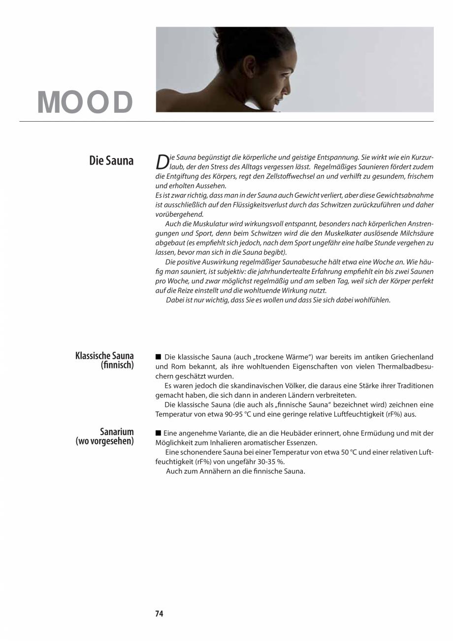 Pagina 74 - Manualul utilizatorului pentru sauna JACUZZI MOOD Instructiuni montaj, utilizare Engleza...
