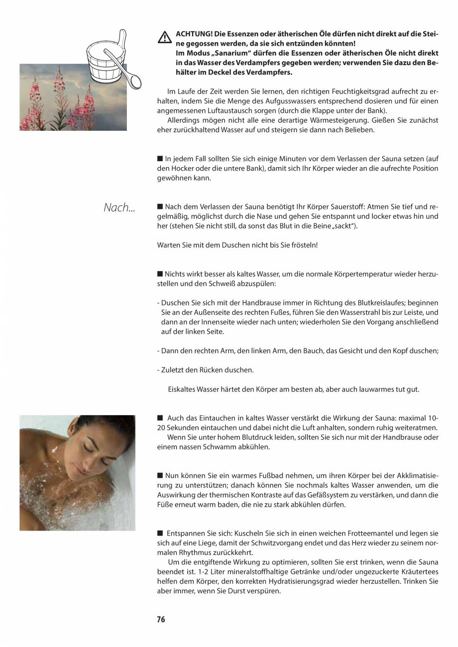 Pagina 76 - Manualul utilizatorului pentru sauna JACUZZI MOOD Instructiuni montaj, utilizare Engleza...