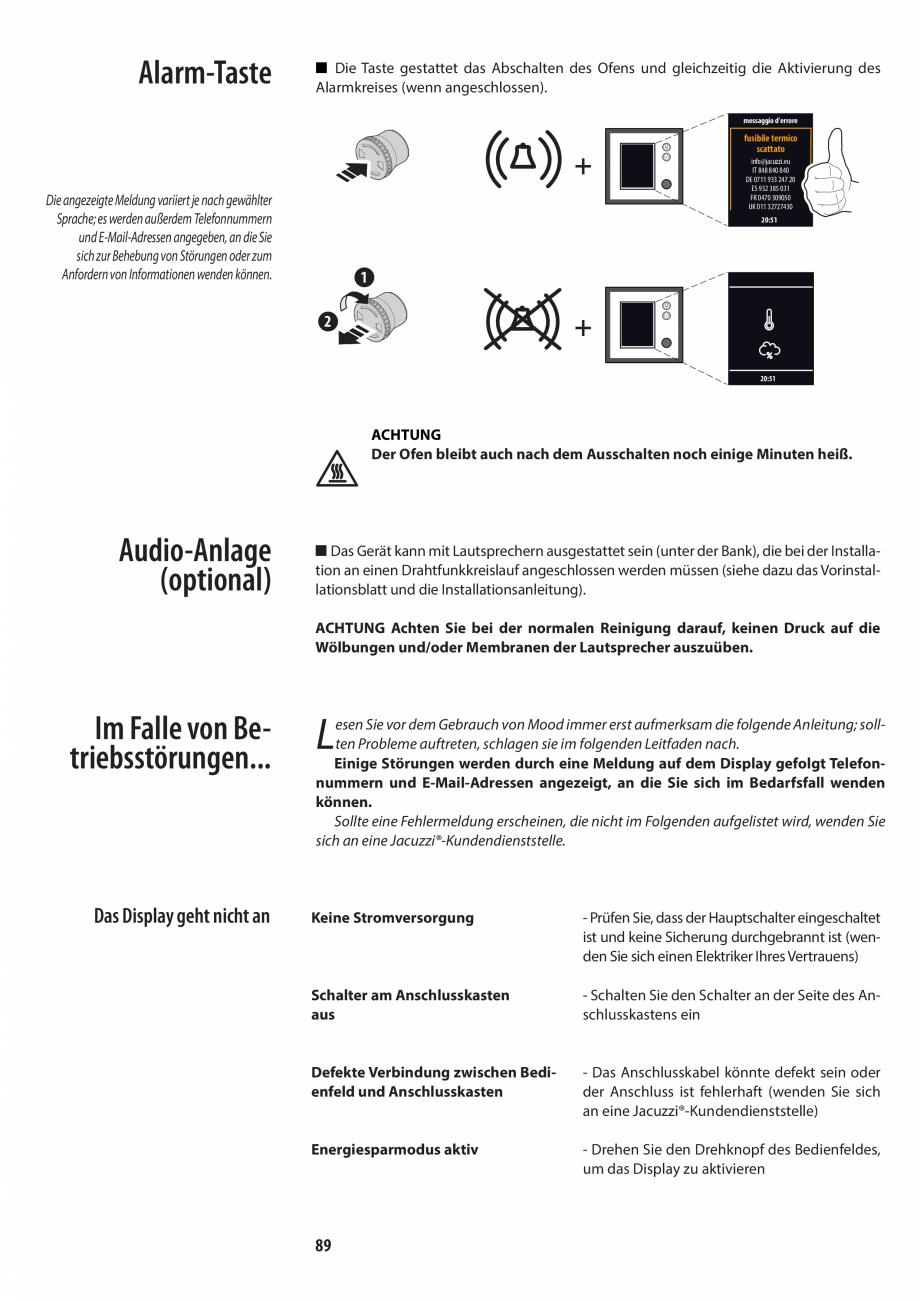 Pagina 89 - Manualul utilizatorului pentru sauna JACUZZI MOOD Instructiuni montaj, utilizare Engleza...